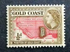 British Gold Coast 1952-54 Queen Elizabeth II 1/2d Map Of West Africa - 1v MLH#4