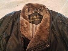 Vintage Saxony Collection Black Men's Leather Faux Fur Jacket Size 40 Zip Belt