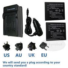 2X CGA-S007E Battery+charger For Panasonic Lumix DMC-TZ1 TZ2 TZ3 TZ4 TZ5 TZ11