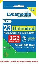 Lycamobile Preloaded Sim Card $23X3 Month Plan Prepaid Talk Text 3Gb Data 4G Lte