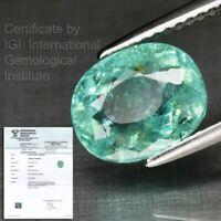 RARE! 2.88ct Light Neon Bluish Green Natural Paraiba Tourmaline *IGI Full Report