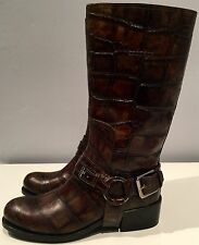 Authentic Christian Dior made in Italy croc green cowboy boots 36.5 rare