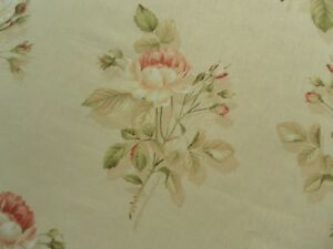 Sanderson Curtain Fabric ENGLISH ROSE 1.3m Red/Sand Classic Floral 130cm