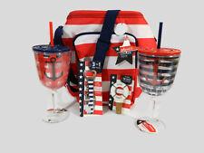 Nautical Bag Wine Cooler Set Tote Cork Stopper Bottle Opener Tumbler Red New
