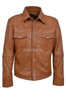 Men Leather Shirt Tan Adjustable Collar Casual Retro 100% REAL NAPA JACKET M-114