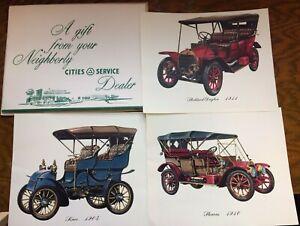 Set of 3 Antique Automobile Car Prints, Cities Service Dealer folder & envelope
