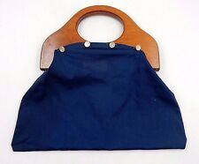 VINTAGE 1970's BANNER HOUSE USA BERMUDA BAG NAVY BLUE PURSE W/ WOODEN HANDLES