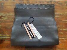 ROCHAS Paris RARE Grey Deerskin Leather Clutch Bag Purse w/ Studs Made in Italy