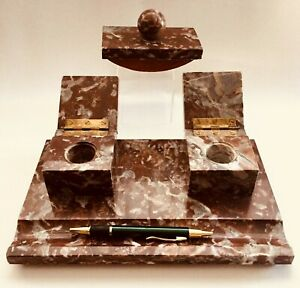 Fabulous Art Deco French Marble Double Inkwell Inkstand Desk Rack. Classy!