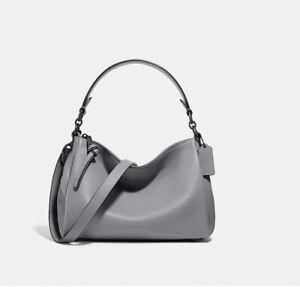❤️ Coach Shay 601 Granite/Gunmetal Pebble Leather Crossbody