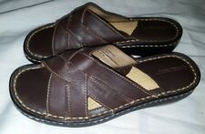 Cherokee Slip-On Strappy Brown Leather 077094007 Sandals Women's Sz 6.5