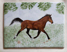 A Limoges Porcelain Plaque Painting with Horse