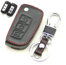 Leather Case Cover Holder For Nissan Rogue Pulsar Remote Flip Key 3 Buttons 3BT