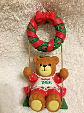 Lucy Riggs Christmas Ornament Bear in Swing 1986 Enesco