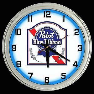 "16"" PABST BLUE RIBBON Beer Sign PBR Single Blue Neon Clock"