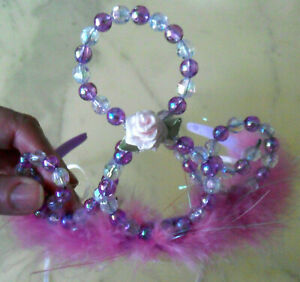Princess TIARA Hairband Fuzzy Pink Feathers Beads Silk Rose Ribbons, Party Favor