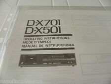 Sansui  D-X701/ 501 Owner's Manual  Operating Instructions Istruzioni New