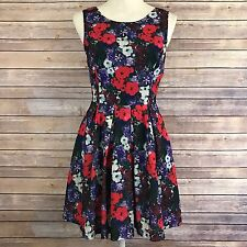 Forever 21 Floral Sleeveless A Line Dress Scoop Neck Back V Small Red Purple E1