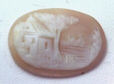 NOS Antique Vintage Hand Carved Oval Shell CAMEO Stone House & Tree Scene #N410