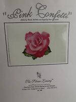 """Pink Confetti"" Counted Cross Stitch Pattern 2003 Rose Silver Lining"