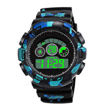Fashion Mens Acrylic Digital LED Analog Quartz Alarm Date Sports Wrist Watch