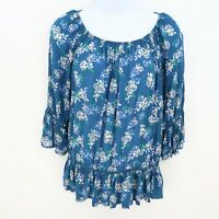 Fever Blouse Shirt Womens Size S Blue Floral Bell Sleeve Relaxed Fit PRETTY!