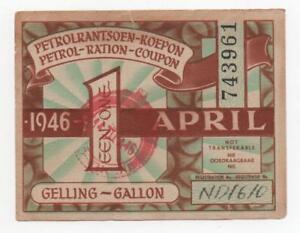 SOUTH AFRICA PETROL RATION COUPON PETROLRANSOEN KOEPON 1946 LOOK SCANS