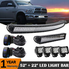 "1999-04 GMC Sierra 2500 Curved 300W 52""+22'' LED Light Bar +Rocker Switch Combo"