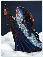 VTG Postcard Christmas Santa 1988 Pipka Folk Art Craft Father Wizard Blue A4