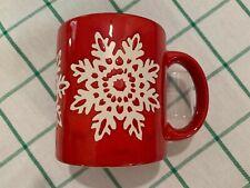 Waechtersbach Red Christmas Coffee Mug (12 oz) w/ White Snowflakes Germany NICE