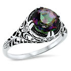 ANTIQUE STYLE 2 CT. HYDRO MYSTIC QUARTZ 925 STERLING SILVER RING SIZE 4.75  #635