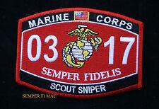 MOS 0317 SCOUT SNIPER US MARINES PATCH STA SASR SSP M16A2 M82A1 VIETNAM 8541