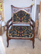 Late 1800's Carved Mahogany Armchair / Parlor Chair (Ac12)