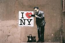 """Banksy - I Love  New York Doctor, I heart NY  -24""""x36"""" Canvas Art Print"""