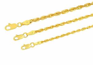 "10k Yellow Gold Light 2mm-3mm Diamond Cut Rope Chain Pendant Necklace 16""-30"""