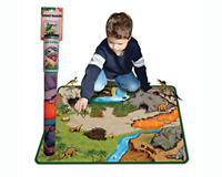 Dinosaur Prehistoric Playmat 2 Sided World 2 Dinos Play Playset Kids Toy Mat New