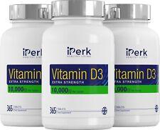Vitamina D3 10000IU 1095 comprimidos fuerza adicional 100% hecho en Reino Unido Garantía de devolución de dinero