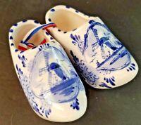 Vintage Pair Of Ceramic Delft Blue Dutch Holland Painted Clogs Shoes