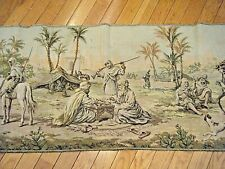 "55"" LARGE VINTAGE 1950s BELGIUM WOVEN WALL TAPESTRY PERSIAN TOWN SQUARE SCENE"