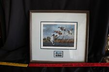 1989 TEXAS DUCK STAMP & PRINT Framed & Signed DAVID MAASS Mallards In Flight