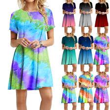 Women Summer Short Sleeve Casual Short Dress Crew Neck Tie-dye Print Loose Dress