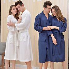 Men Women Bathrobe Soft Thin Long Sleeve Kimono Robe Sleepwear Spa Robe Unisex