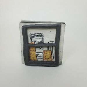 """City Window Coleman Clique Tile SIGNED Porcelain Clay Collectible Wall Art 3.5"""""""