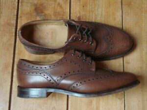 BARBOUR mens brogue shoes VGC size UK7 brown