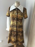 VINTAGE 60'S BROWN & YELLOW SHIRT MOD SCOOTER MINI DRESS UK 10 SMALL
