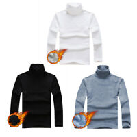 Men's Winter Turtleneck Fleece Lined Pullover Long Sleeve Tops T-Shirt Sweater