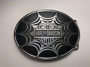 Harley-Davidson men's belt buckle.Bar&Shield Spiderweb.#97831-08VM.Silver plaite