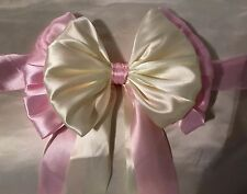 "Luxury Satin 9"" double  bow chair sash, Pink/Ivory/white X 2 bows"