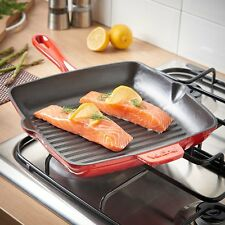 Cast Iron 26cm Square Griddle Pan Suitable For All Hob Types Including Induction