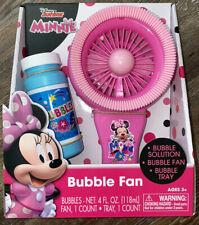 NIB Disney Junior  Minnie Mouse Pink Bubble Fan  With Bubbles